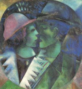 Marc Chagall Gli innamorati in verde (1914-1915) Gouache a olio su carta Collezione privata